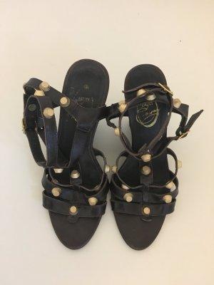 Friis 36 Sandalen Sandaletten Pumps Sommer dunkelbraun schoko braun Gold Nieten Keilabsatz Schuhe 36