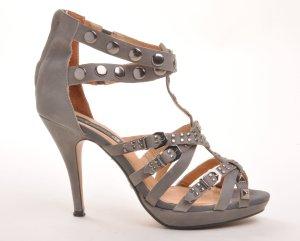 Friis & Company Zapatos de tacón con barra en T gris oscuro-gris
