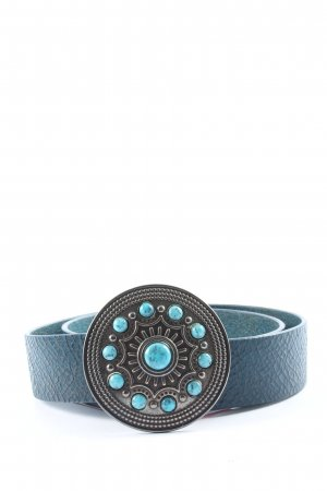Friis & Company Leather Belt blue casual look