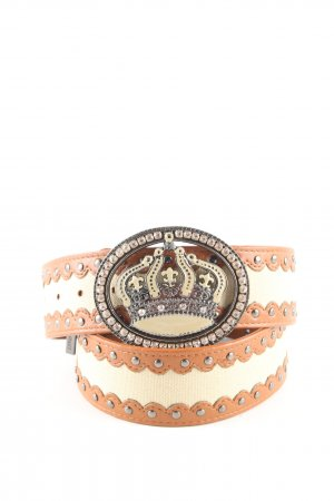 Friis & Company Studded Belt brown-cream extravagant style