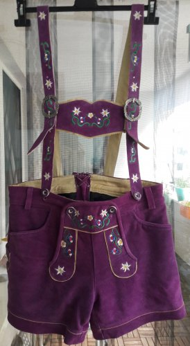 Gaudi Pantalón de cuero tradicional lila