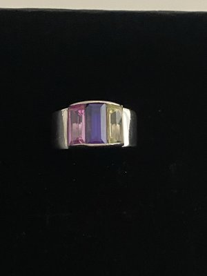 Fröhlicher bunter Silber Ring mit 3 Steinen 925 punziert