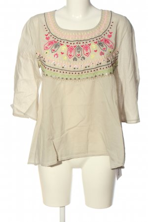 Frogbox Kurzarm-Bluse creme-pink grafisches Muster Casual-Look