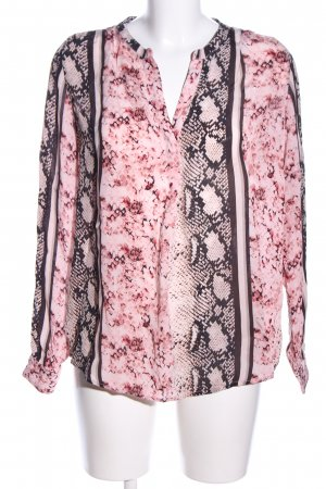 Frogbox Langarm-Bluse pink-schwarz Animalmuster Business-Look