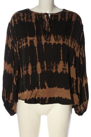 Frogbox Langarm-Bluse braun-schwarz abstraktes Muster Business-Look