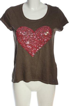 Frogbox Print-Shirt braun-rot Casual-Look