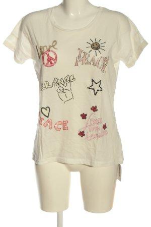 Frogbox T-Shirt wollweiß Schriftzug gedruckt Casual-Look
