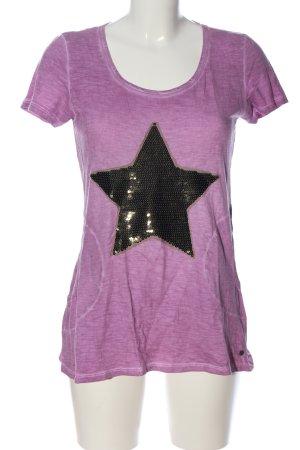 Frogbox T-Shirt lila-schwarz Motivdruck Casual-Look