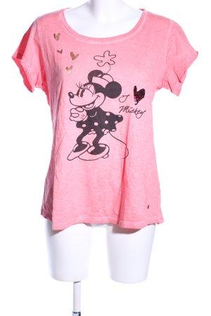 Frogbox T-Shirt pink-schwarz meliert Casual-Look
