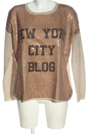 Frogbox Wollpullover wollweiß-bronzefarben Schriftzug gedruckt Casual-Look