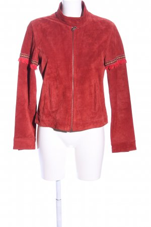 Front Line Giacca in pelle rosso stile casual
