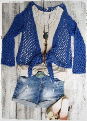 Cardigan a maglia grossa blu Cotone