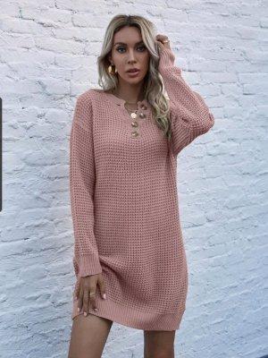 SheIn Vestido de lana color rosa dorado