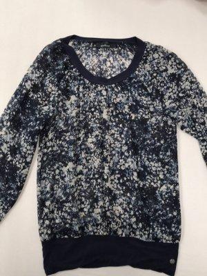 Frühlings-HIT: Dunkelblau gemusterte Bluse, durchschimmernd, lange Ärmel, One Touch, 34/36