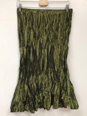 Frühlings-HIT: Italienischer Designerrock, grün-olivgrün, 40 (italienische Größe 44), neu, Knitterrock, schimmernd irisierend, Plissee, Crash-Optik