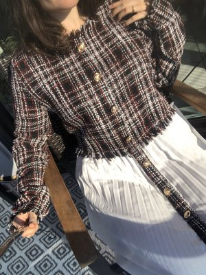 FrühlingsKleidchen Babydoll Brit Business mit weißem Plissee Rock kariert rot tweed boucle