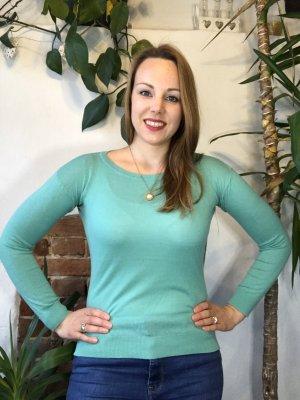 Laura T: Camicia maglia turchese-menta