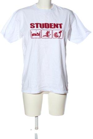 Fruit of the Loom Print-Shirt weiß-rot Schriftzug gedruckt Casual-Look
