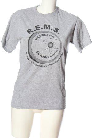 Fruit of the Loom T-Shirt hellgrau-schwarz Schriftzug gedruckt Casual-Look