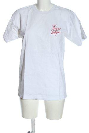 Fruit of the Loom T-Shirt weiß-rot Schriftzug gedruckt Casual-Look