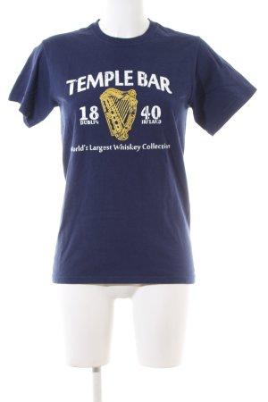 Fruit of the Loom T-Shirt blau-weiß Schriftzug gedruckt Casual-Look