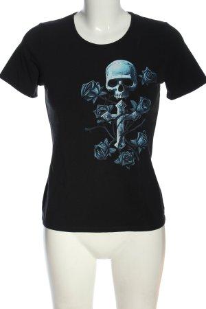 Fruit of the Loom T-Shirt schwarz-blau Motivdruck Casual-Look