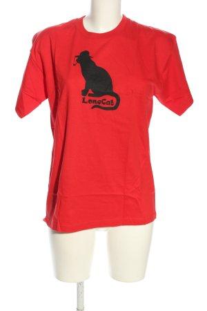 Fruit of the Loom T-Shirt rot-schwarz Motivdruck Casual-Look