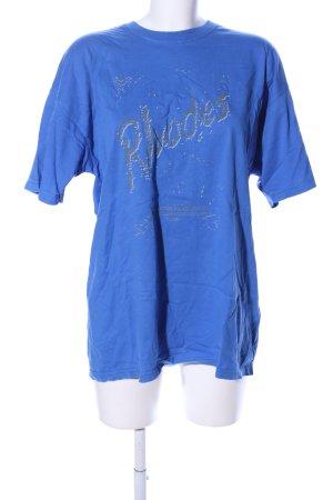 Fruit of the Loom T-Shirt blau Schriftzug gedruckt Casual-Look