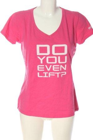 Fruit of the Loom V-Ausschnitt-Shirt pink-weiß Motivdruck Casual-Look