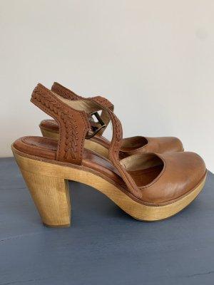 FRYE Schuhe Clogs Gr 36 36,5 Leder Holz