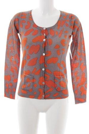 FTC Cashmere Cardigan orange-graubraun abstraktes Muster Zierknöpfe