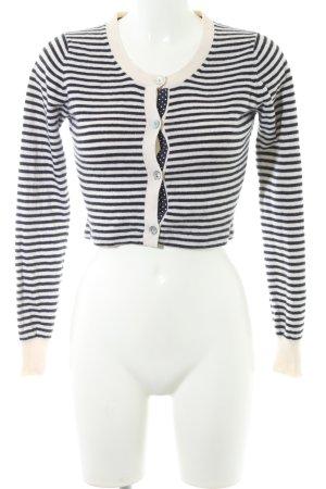 FTC Cashmere Kurzjacke schwarz-weiß Streifenmuster Casual-Look