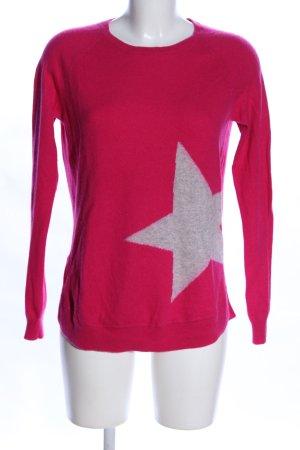 FTC Cashmere Rundhalspullover pink-hellgrau meliert Casual-Look