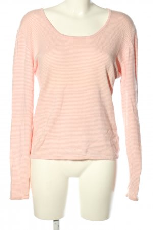 FTC Cashmere Rundhalspullover pink-creme Streifenmuster Casual-Look