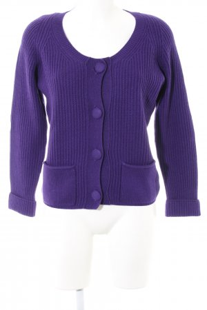 FTC Cashmere Strick Cardigan lila Zopfmuster Casual-Look