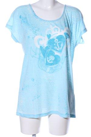 FTC Cashmere T-Shirt blau-weiß Motivdruck Casual-Look