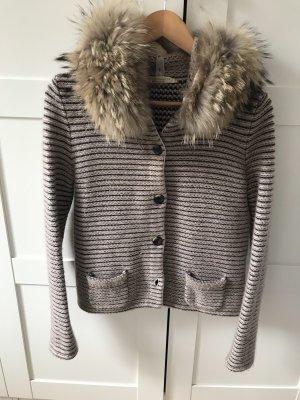 FTC Cashmere Veste en tricot marron clair-gris brun
