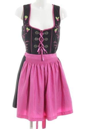 Fuchs Trachtenmoden Dirndl schwarz-pink Blumenmuster klassischer Stil