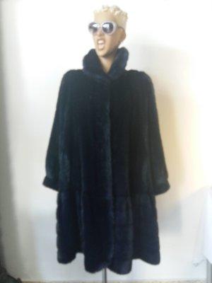 Aniral Paris Płaszcz ze sztucznym futrem ciemnoniebieski Wełna