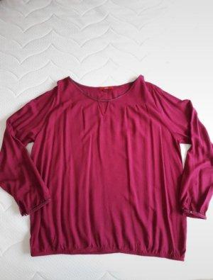 Fuchsiafarbene Bluse mit Strukturmuster, Glitzerkante und Cut out von s.Oliver