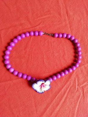 Naszyjnik z perłami fioletowy
