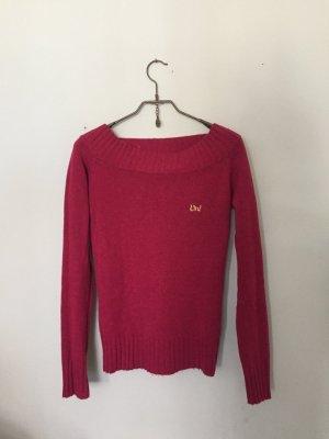 Fuchsiafarbener, superwarmer Lambswolle-Pullover, mit wunderschönem Ausschnitt