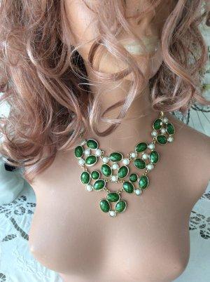 Naszyjnik zielony-złoto
