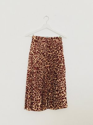 H&M Pleated Skirt carmine-natural white mixture fibre