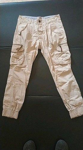 FUGA beige Stoffhose, Taschen, Reißverschluss, lässig, Boyfriend