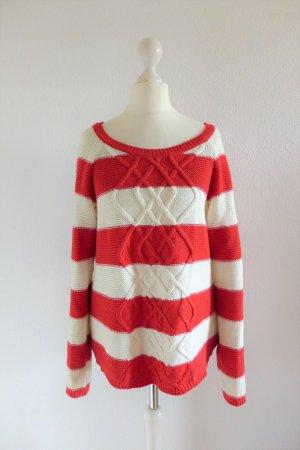 Fuga Strick Pulli Pullover rot weiß scandi maritim Gr. S 36/38