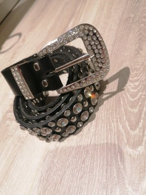 Made in Italy Leather Belt black-silver-colored