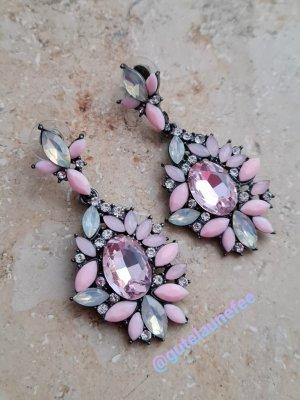 funkelnde Statement Ohrringe mit rosa Strass Steinchen