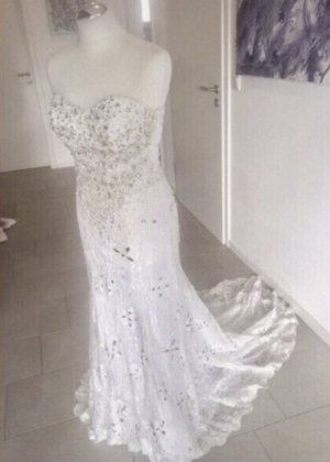 Vestido de novia blanco-color plata