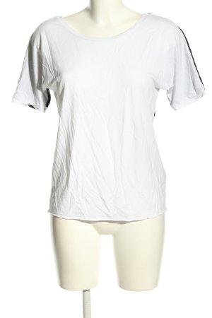 Funktion Schnitt Koszulka z dekoltem w łódkę biały-czarny W stylu casual